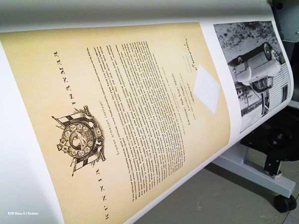 Digitaalinen reproaminen - asiakirjan skannaus, restaurointi, pigmenttivedostaminen ja kehystäminen, 05/2010